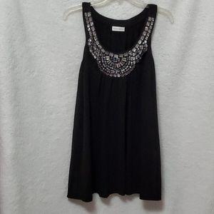 Black Flowy Tunic w/Crystal Jeweled Neck